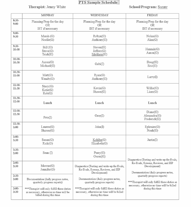 occupational therapy schedule