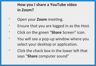 Boxed bulleted list of instructions for sharing YouTube videos on video conferencing platform Zoom, an easy teletherapy solution.