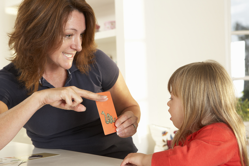 Female school-based speech language pathologist (SLP) shows card depicting snake to girl with Down syndrome.